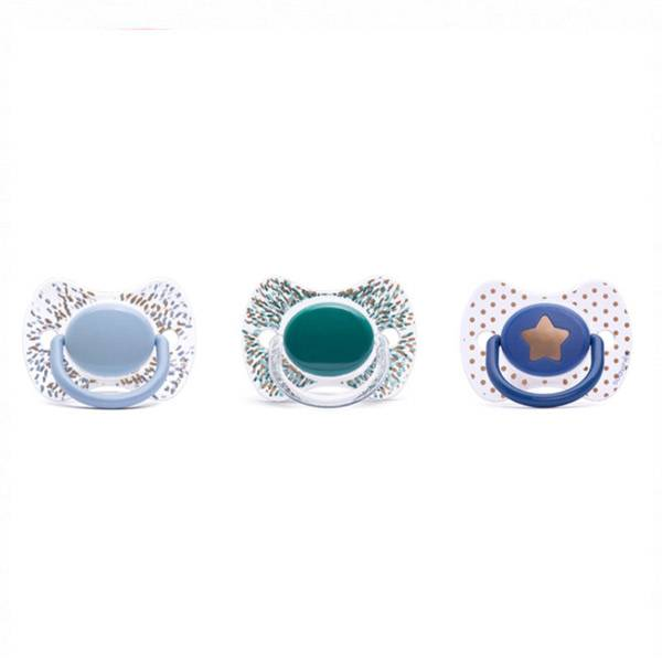 Suavinex Sucette Silicone Revers Couture Bleu 0-4m