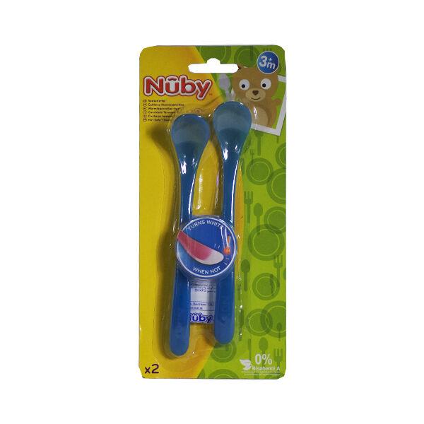 Nuby Cuillère Thermosensible +6m Bleu Lot de 2