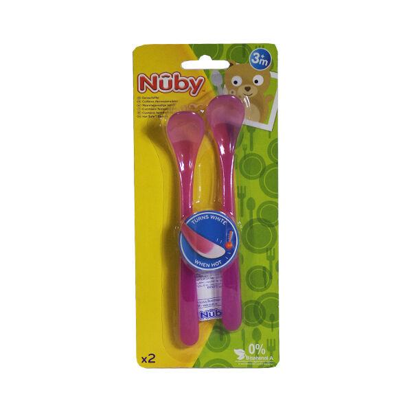 Nuby Cuillère Thermosensible +6m Rose Lot de 2