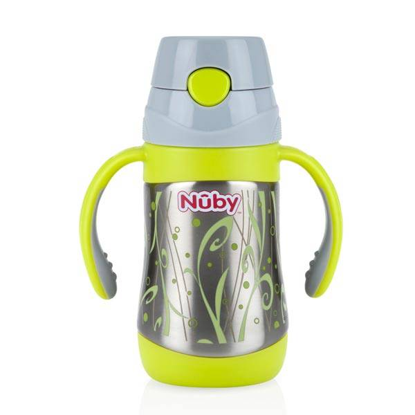 Nuby Thermo Inox Gourde Paille Rétractable 280ml