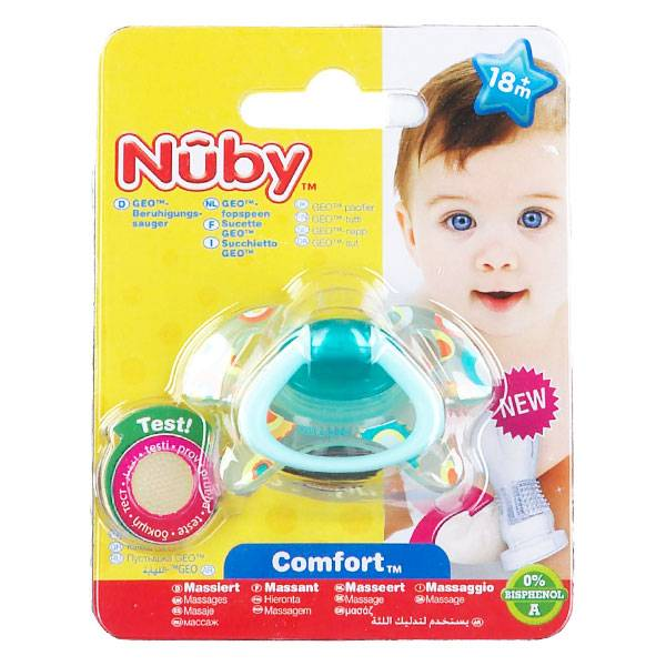 Nuby Sucette PP GEO Orthodontique Silicone Turquoise Rond +18 mois