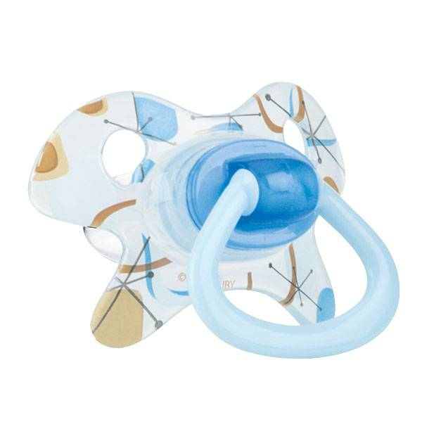 Nuby Sucette PP GEO Silicone Orthodontique Bleu 6-18 mois