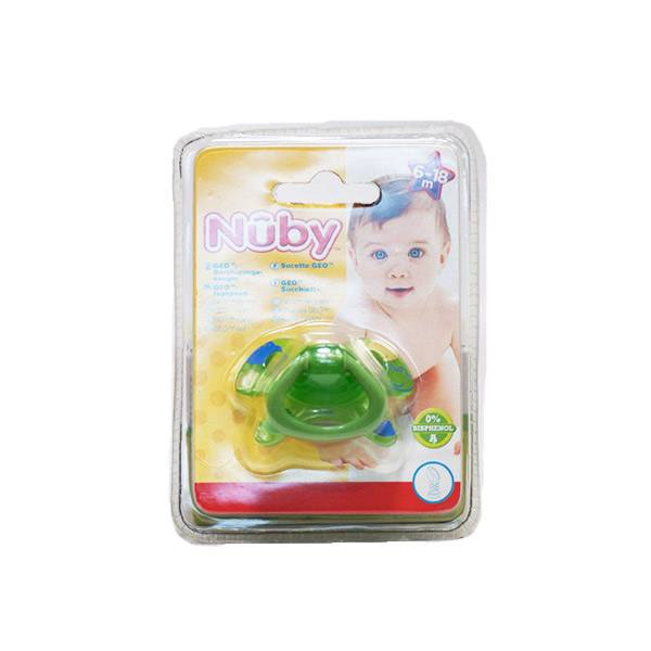 Nuby Sucette PP GEO Silicone Orthodontique Verte 6-18 mois