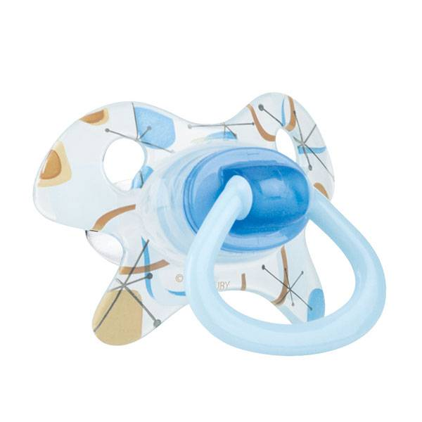 Nuby Sucette PP GEO Orthodontique Silicone Bleu +18 mois