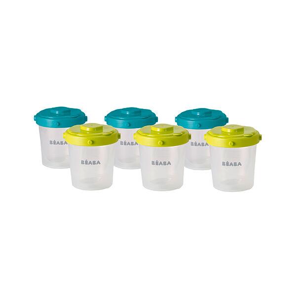 Béaba Portion Clip Set de 6 Pots de Conservation 2ème Age Blue Neon 200ml