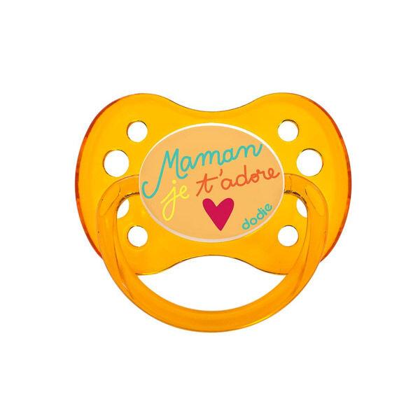 Dodie Sucette Anatomique Silicone Maman D'Amour Orange Translucide +6m A15