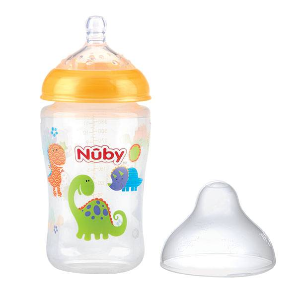 Nuby Biberon Col Large Tétine Débit Moyen Silicone Orange +3m 360ml