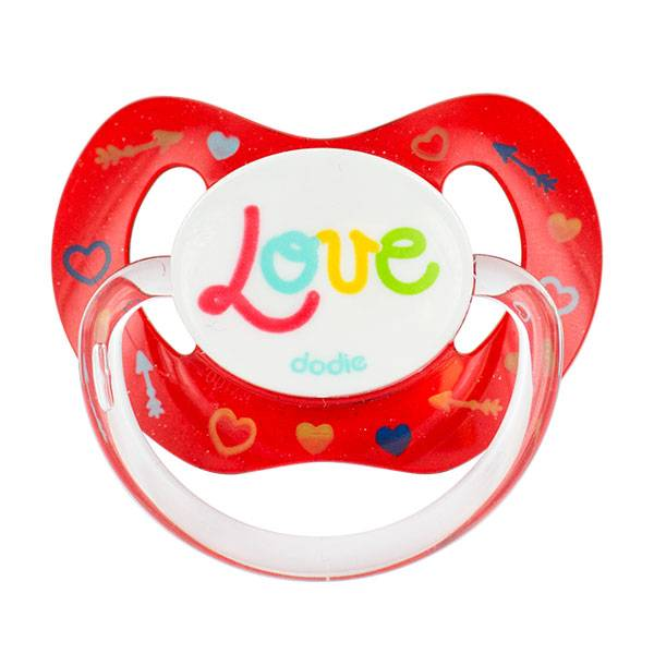 Dodie Sucette Physiologique Silicone 'Love' Rouge 18m+ P61