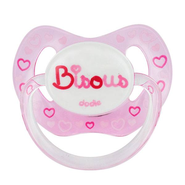 Dodie Sucette Physiologique Silicone 'Bisous' Rose 18m+ P61