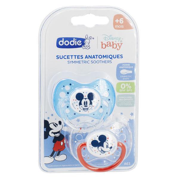 Dodie Sucette Anatomique Mickey Bleu Transparent Silicone +6M A63 Lot de 2