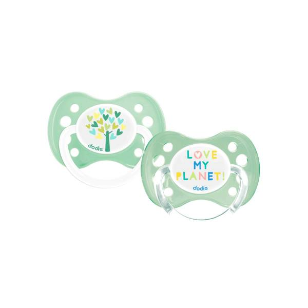 Dodie Sucette Anatomique Silicone Love My Planet 0-6m A83 Lot de 2