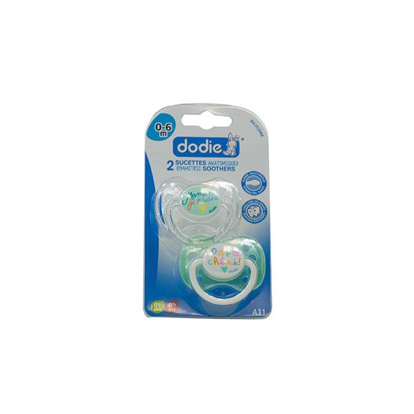 Dodie Sucette Anatomique Silicone Duo Maman Papa Chéri A31 0-6 mois