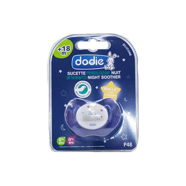 Dodie Sucette Physiologique Silicone Nuit +18m Chat Violet P48