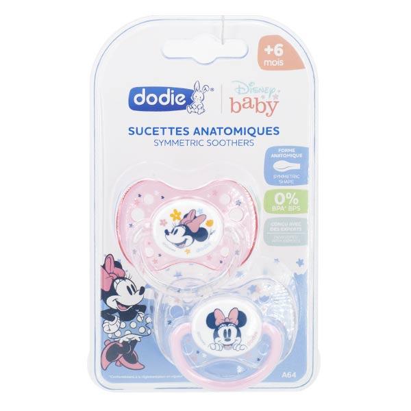 Dodie Sucette Anatomique Minnie Rose Transparent Silicone +6m A64 Lot de 2