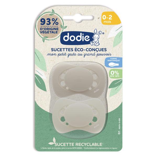Dodie Sucettes Eco-conçues Anatomiques Beige 0-2m Lot de 2