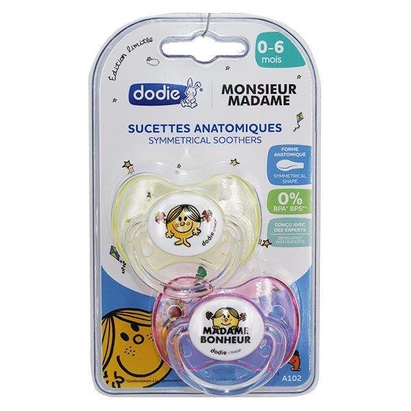 Dodie Sucette Physiologique Monsieur Madame Bonheur +0m Lot de 2