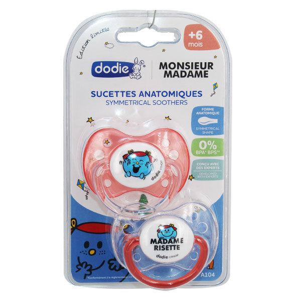 Dodie Sucette Physiologique Monsieur Madame Risette +6m Lot de 2