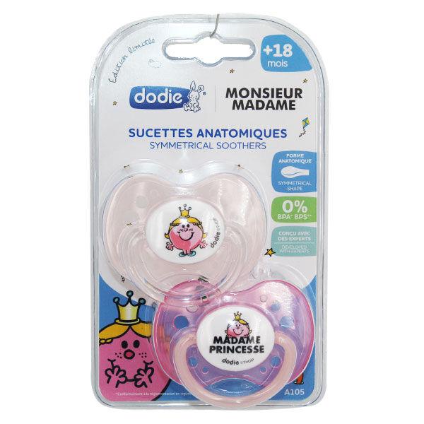 Dodie Sucette Physiologique Monsieur Madame Princesse +18m Lot de 2
