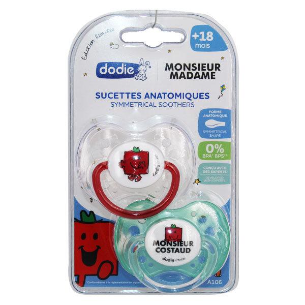 Dodie Sucette Physiologique Monsieur Madame Costaud +18m Lot de 2