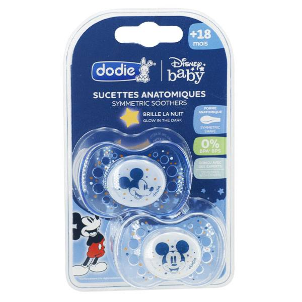 Dodie Sucette Anatomique Silicone Nuit Mickey +18m A75 Lot de 2