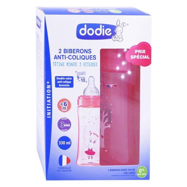 Dodie Biberons Anti-Colique Initiation + Débit 3 Rose Danseuse 6m+ 330ml Lot de 2