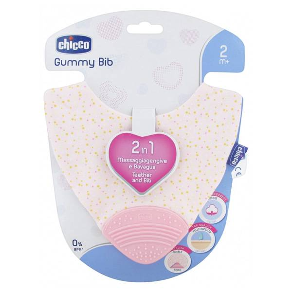Chicco Gummy Bib Bavoir de Dentition +2m Rose