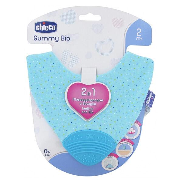 Chicco Gummy Bib Bavoir de Dentition +2m Bleu
