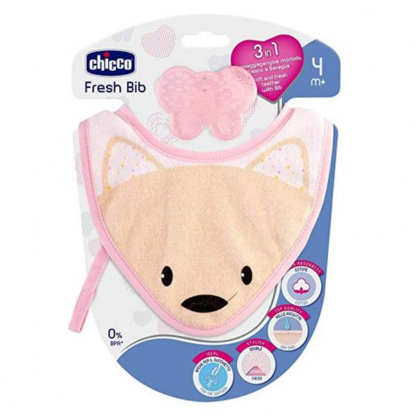 Chicco Fresh Bib Bavoir de Dentition +4m Rose