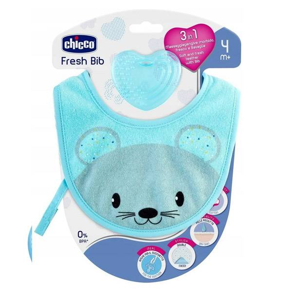 Chicco Fresh Bib Bavoir de Dentition +4m Bleu