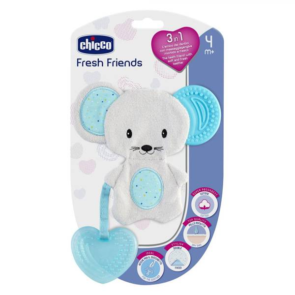 Chicco Fresh Friends Doudou de Dentition +4m Bleu