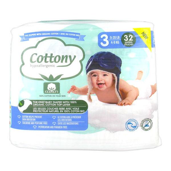 Cottony Couches Bébé 100% Coton T3 4-9kg 32 unités