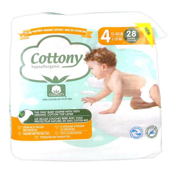 Cottony Couches Bébé 100% Coton T4 7-18kg 28 unités
