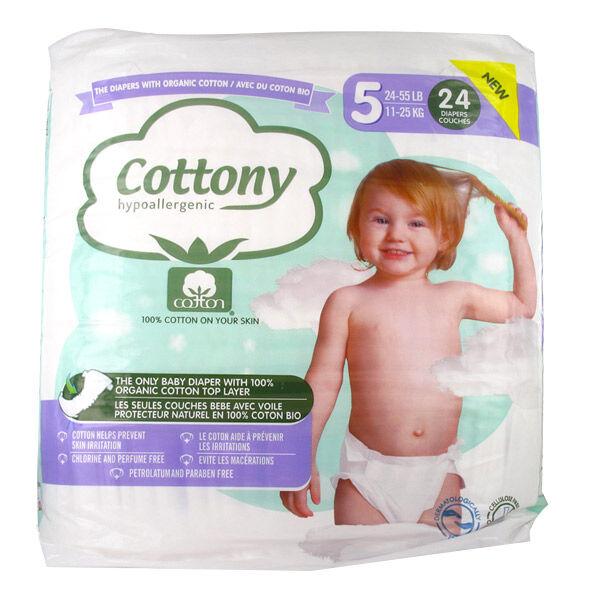Cottony Couches Bébé 100% Coton T5 11-25kg 24 unités