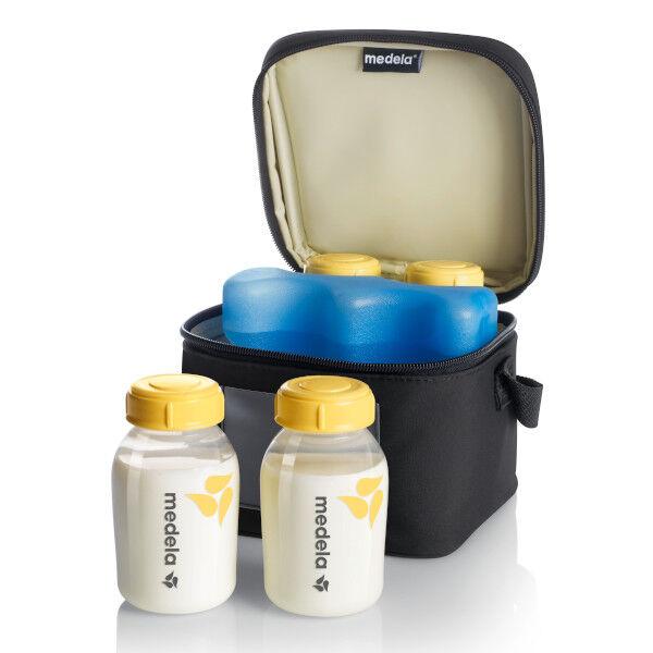 Medela Cooler Bag Compartiment et Bloc Réfrigérant + 4 Biberons