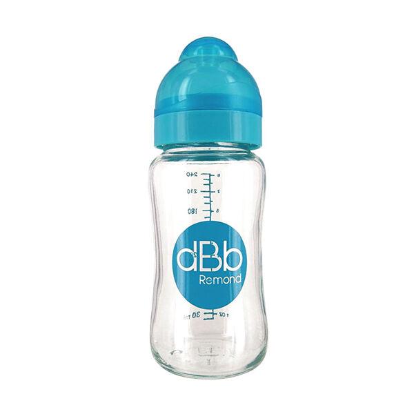 dBb Remond Biberon Large Ouverture Verre Turquoise Translucide 0-4mois 240ml