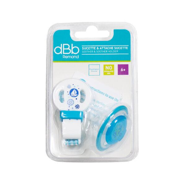 dBb Remond Sucette Physiologique Silicone 2ème âge + Attache Sucette Bleu