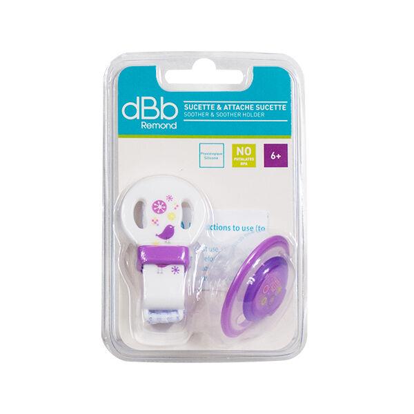 dBb Remond Sucette Physiologique Silicone 2ème âge + Attache Sucette Violet