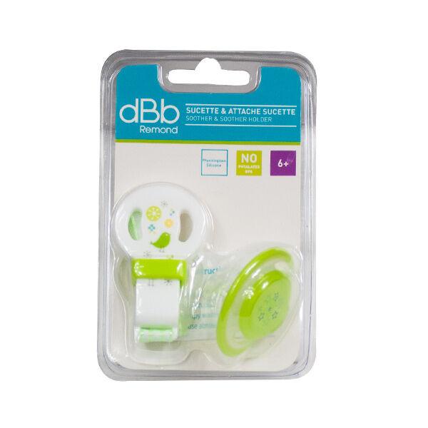 dBb Remond Sucette Physiologique Silicone 2ème âge + Attache Sucette Vert