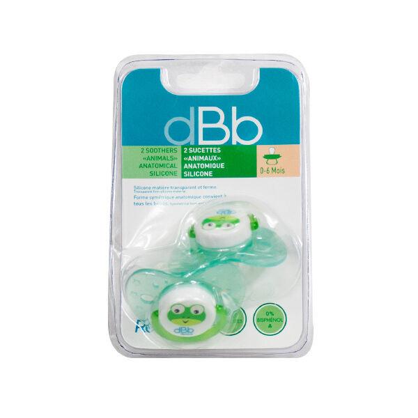 dBb Remond Sucette Anatomique Silicone Grenouille Bleu Translucide 1er âge Lot de 2