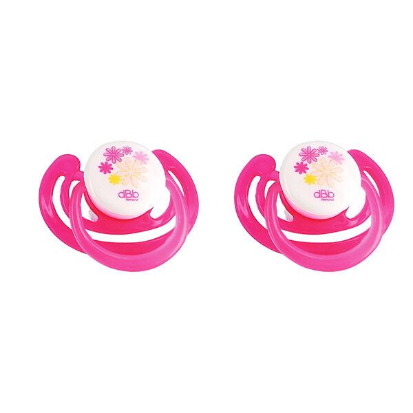 dBb Remond Sucette Physiologique Silicone Fleurs Rose Translucide & Violet 1er âge Lot de 2