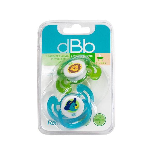 dBb Remond Sucette Physiologique Silicone Ourson & Lion 1er âge Lot de 2