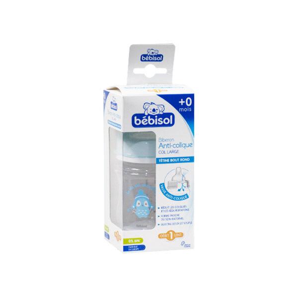 bébisol biberon anti colique silicone col large +0m bleu 120ml
