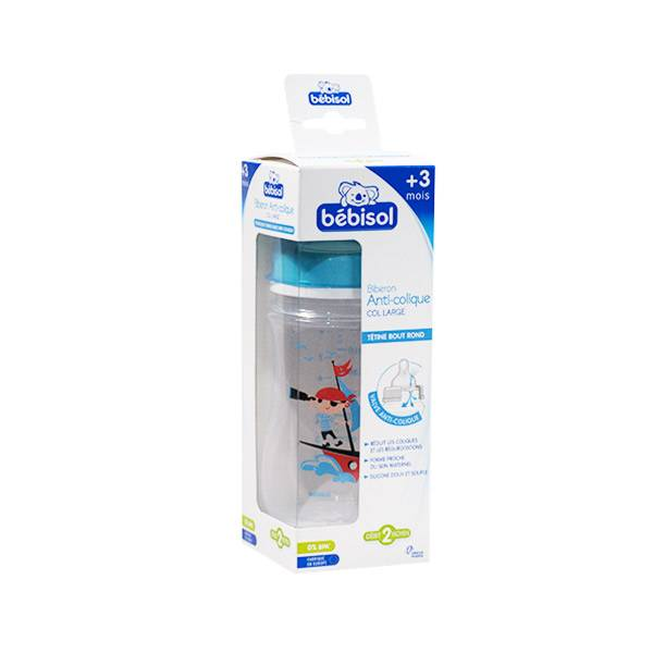 Bébisol Biberon Anti Colique Silicone Col Large +3m Pirate 240ml