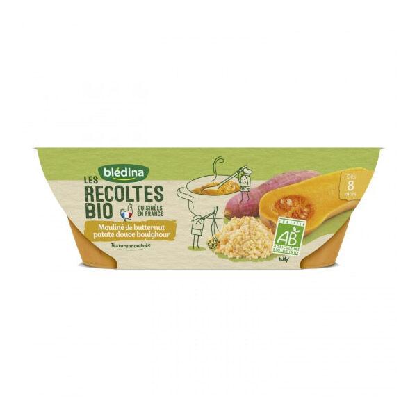 Blédina Récoltes Bio Bol Mouliné de Butternut Patate Douce Boulghour +8m 2 x 200g
