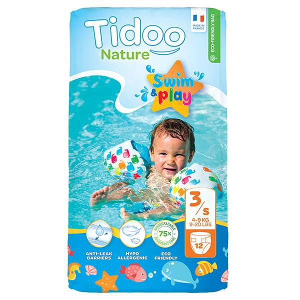 0176246 Tidoo Couches de Bain T3  (4 - 9 kg) 12 couches