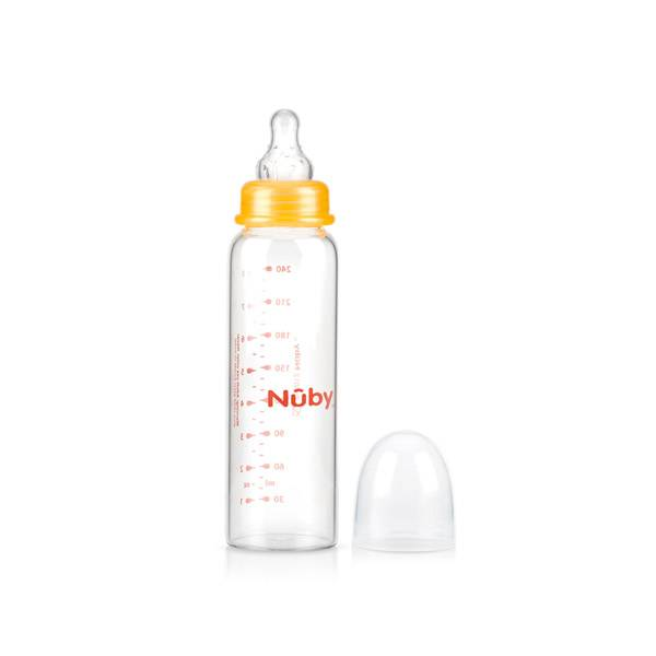 26011TO Nuby Biberon Verre Orange +3m 240ml