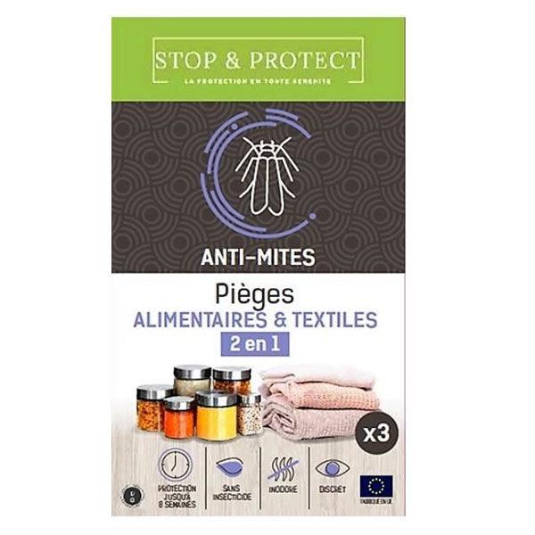 Stop & Protect Pièges à Mites 2 en 1 Alimentaire et Textiles