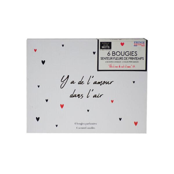 Lysse Côté Maison Coffret Bougies Parfumées Senteur Fleurs de Printemps Y a de l'Amour dans l'Air 6 unités