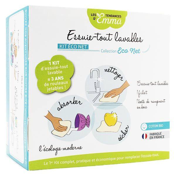 Les Tendances d'Emma Kit Eco Net Essuie-Tout Lavables Bambou Coton Bio