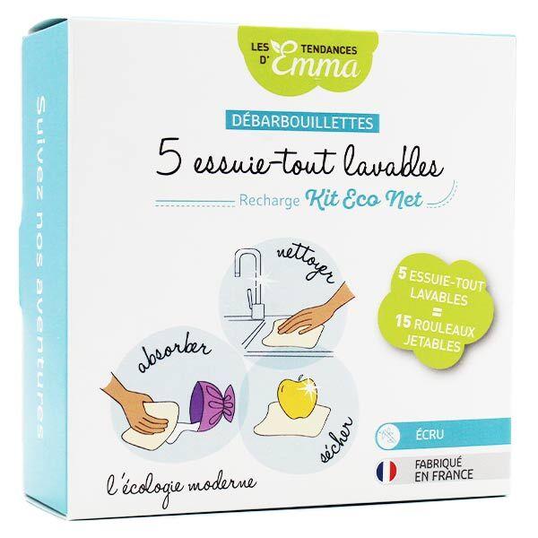 Les Tendances d'Emma Débarbouillettes Essuie Tout Lavables Bambou 5 unités